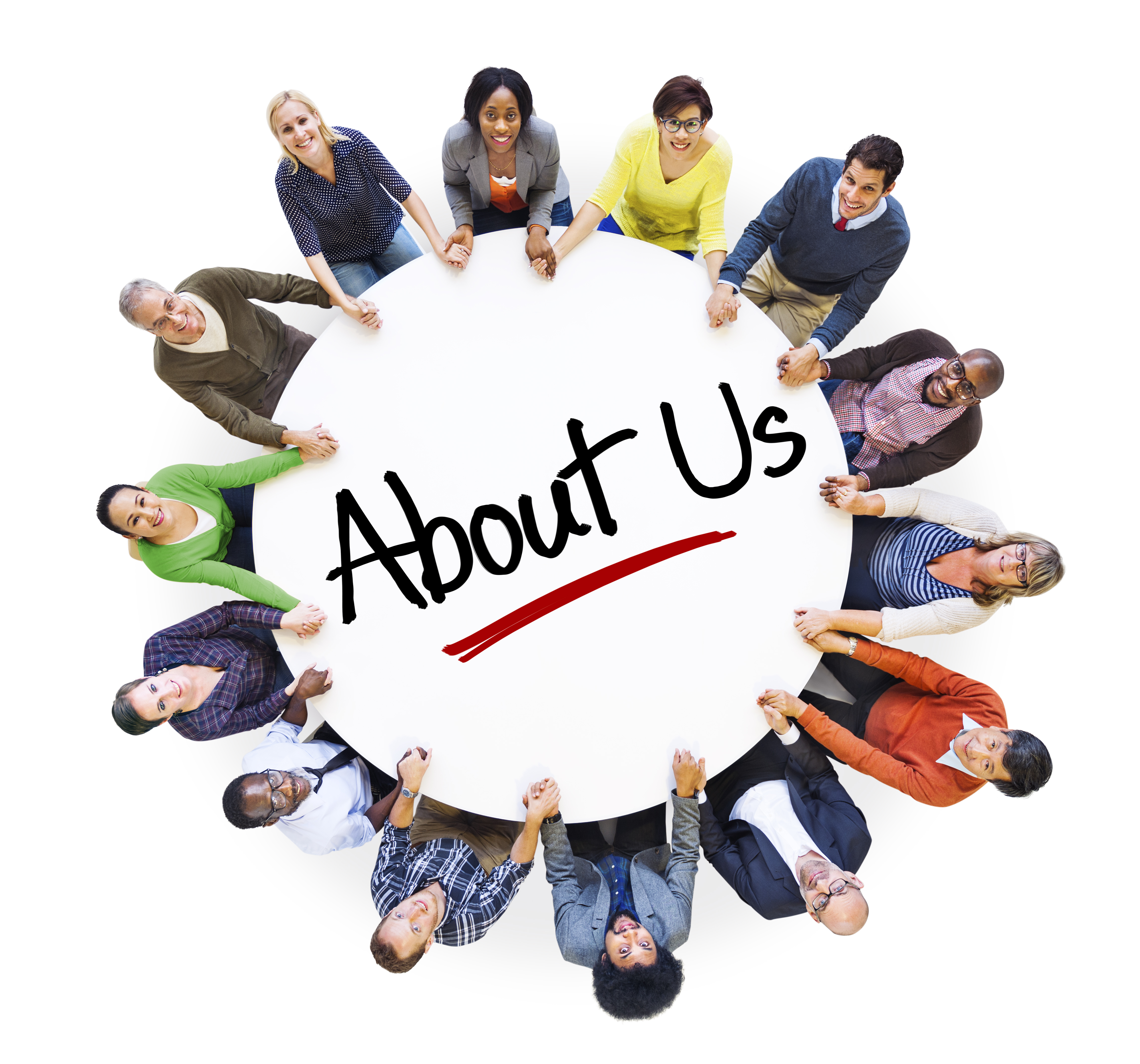 "Multiethnic People in Circle with ""About Us"" Concept"
